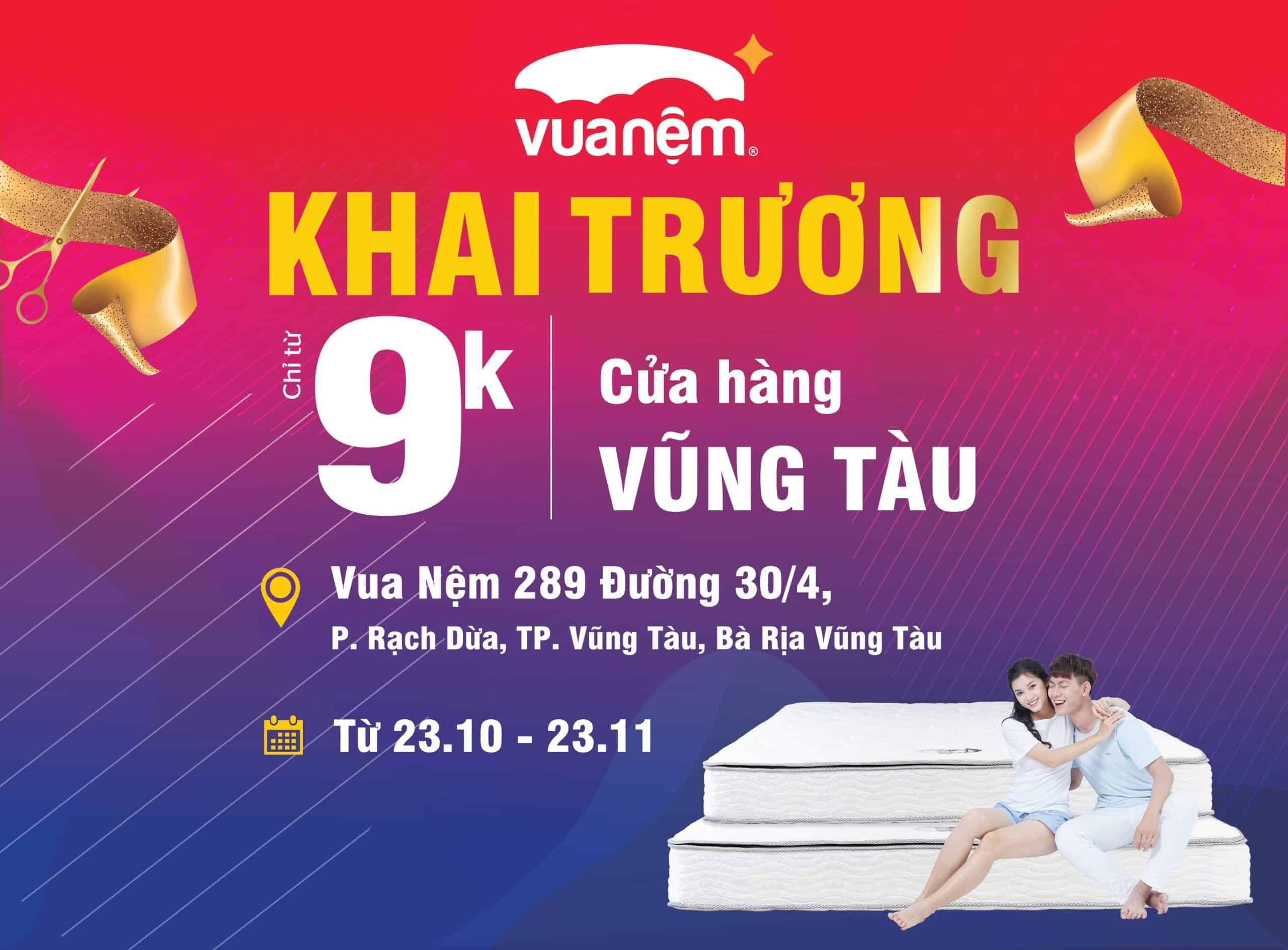 Khai trương Vua Nệm Vũng Tàu - Cơ hội  mua gối chất lượng chỉ với giá 9k