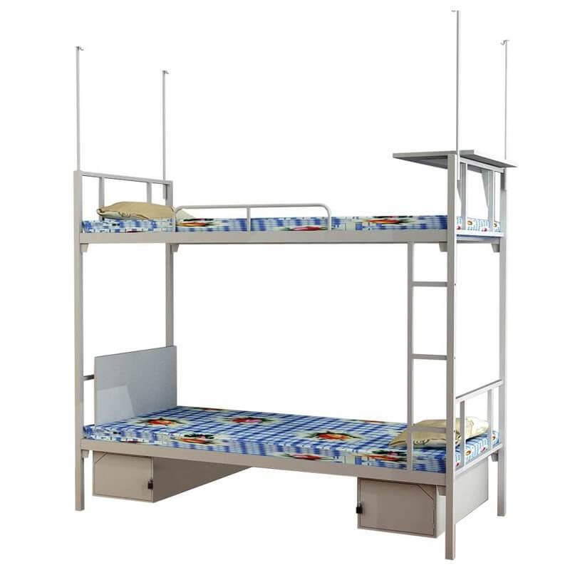 Giường tầng sắt có bàn học và hộc kéo