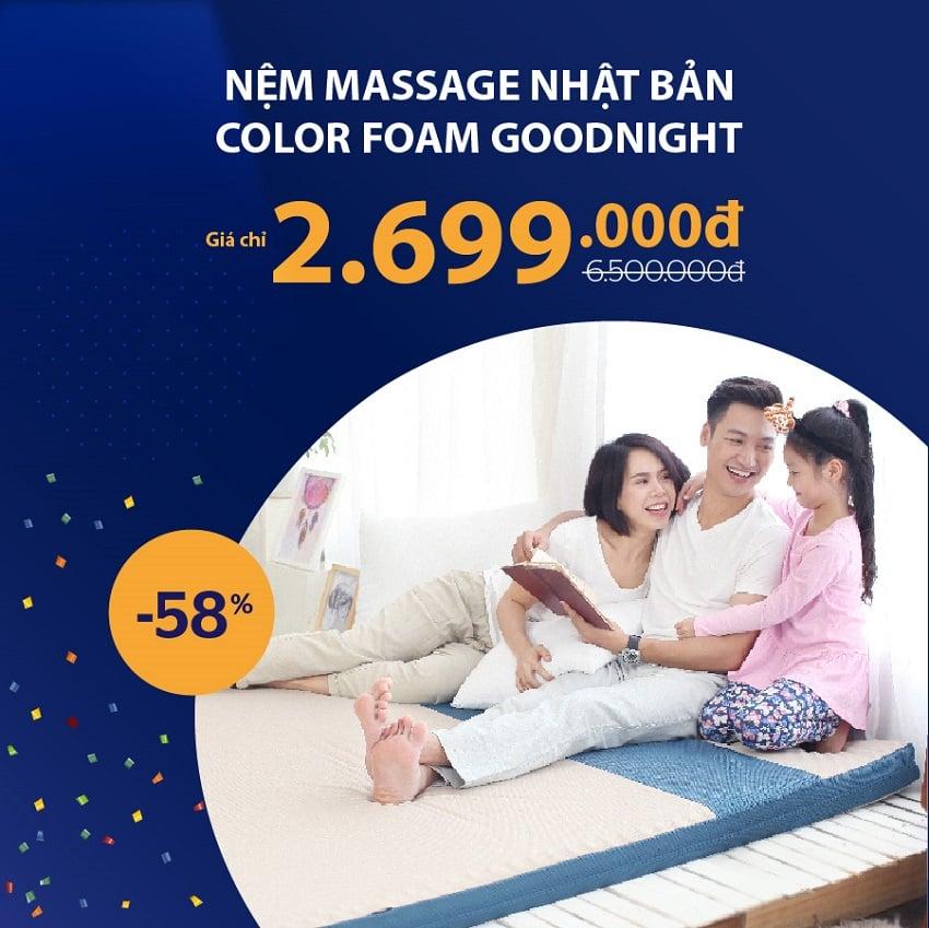 Nệm massage Nhật Bản Color Foam Goodnight