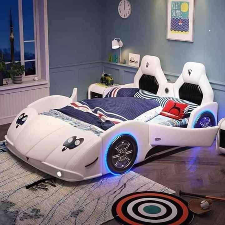 Giường trẻ em GoBy Maserati da màu trắng – 1164