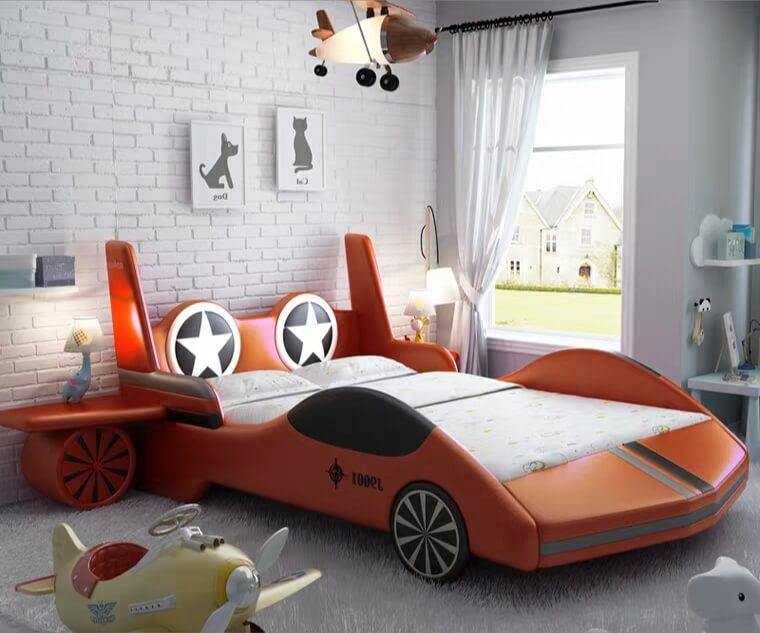 Giường trẻ em GoBy Máy bay da màu da cam – 1165